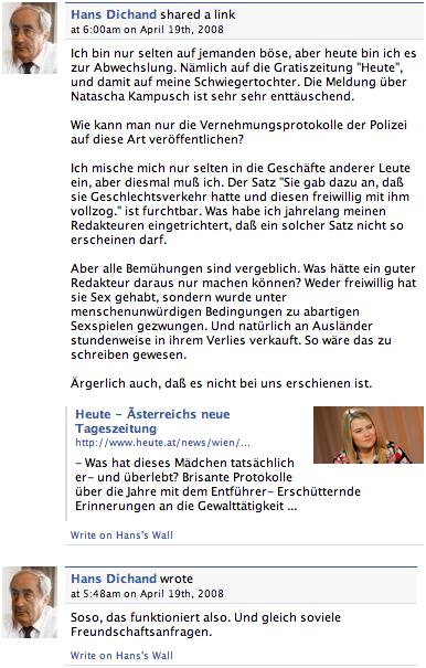 Hans Dichand auf Facebook