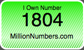 I Own Number 1804 on MillionNumbers.com!