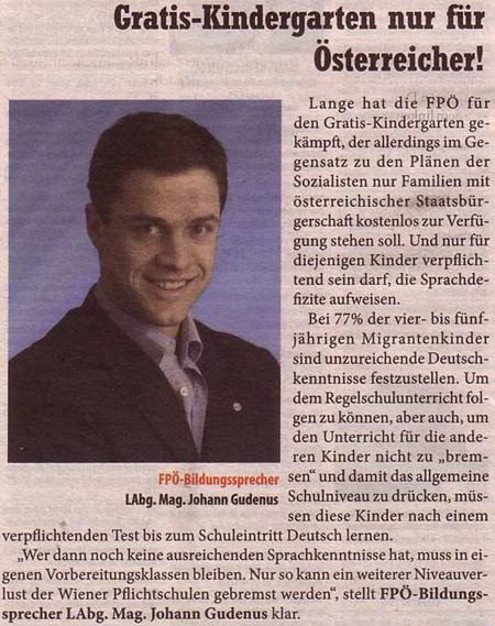 FPOE-Werbung in der Bezirkszeitung vom 1.7.2009