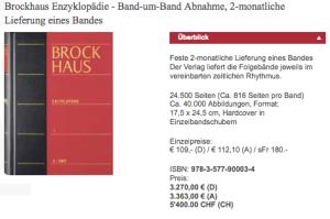 So war das mal: alle zwei Monate ein Band vom Brockhaus, alle gleich dick, alle zusammen im Gegenwert eines Gebrauchtwagens